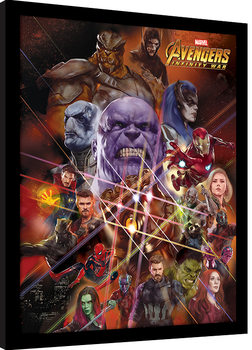 Inramad poster Avengers Infinity War - Gauntlet Character Collage