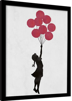 Inramad poster Banksy - Girl Floating