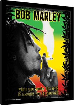 Inramad poster Bob Marley - Herb
