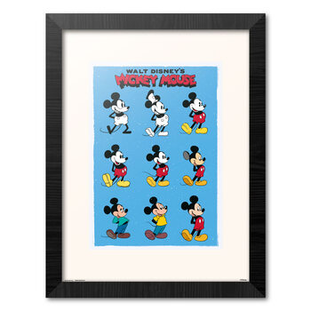 Inramad poster Disney - Mickey Mouse - Evolution