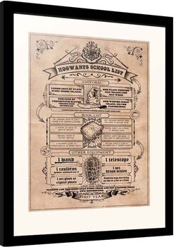 Inramad poster Harry Potter - Hogwarts School List
