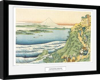 Inramad poster Hokusai - Travelers Climbing a Mountain