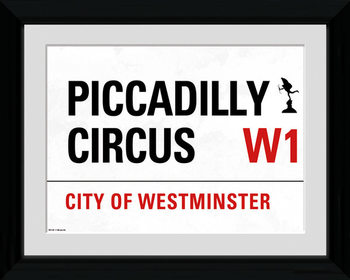 London - Piccadilly Circus Street Sign Inramad poster