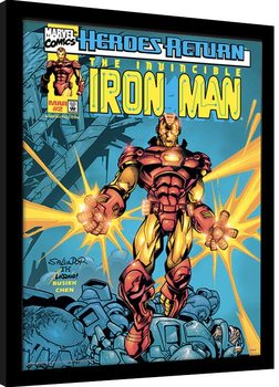 Inramad poster Marvel Comics - Iron Man Heroes Return