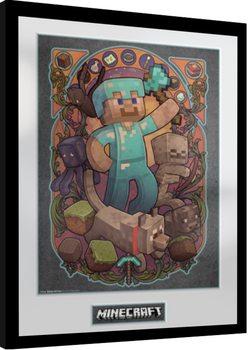 Inramad poster Minecraft - Steve Nouveau