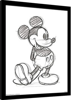 Musse Pigg (Mickey Mouse) - Sketched Single Inramad poster