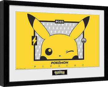 Inramad poster Pokemon - Pikachu wink
