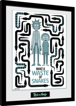 Rick & Morty - Waste of Snakes Inramad poster