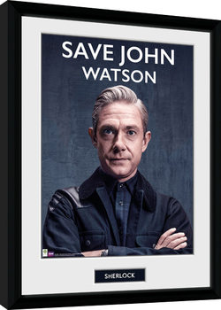 Sherlock - Save John Watson Inramad poster