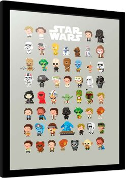 Inramad poster Star Wars - 8-Bit Characters