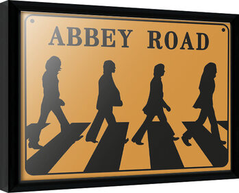 Inramad poster The Beatles - Abeey Road Sign