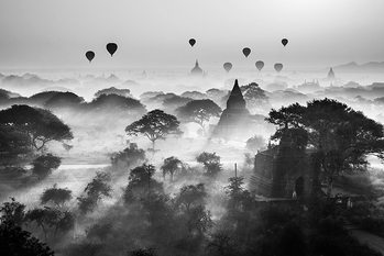 Balloons Over Bagan Poster
