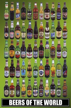 Póster  Beers of the world bottles