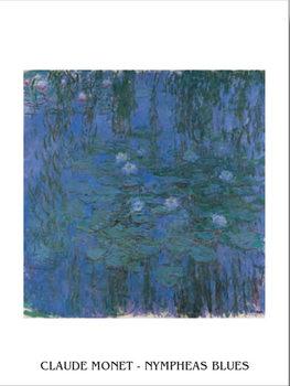 Blue Water Lilies Kunstdruk
