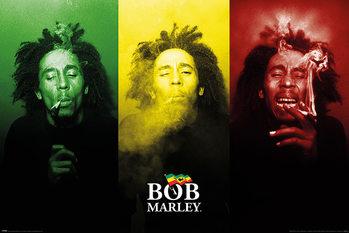 Póster Bob Marley - Tricolour Smoke