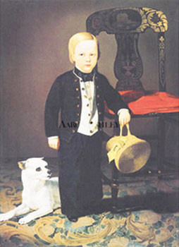 Boy With Dog Kunstdruk