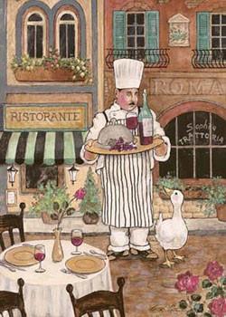 Chef With Wine Kunstdruk