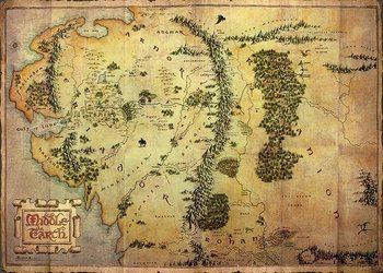 De Hobbit - Kaart Van Midden-Aarde Poster