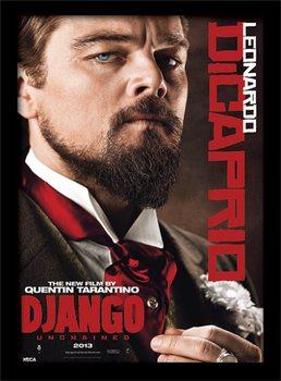 Django Unchained - Leonardo DiCaprio ingelijste poster met glas