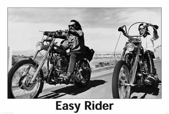 Poster  EASY RIDER - riding motorbikes (B&W)