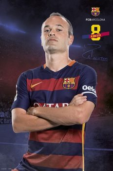 Póster  FC Barcelona - Iniesta pose 2015/2016