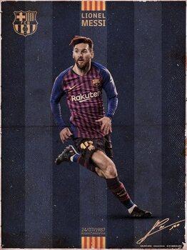 FC Barcelona - Messi Vintage Kunstdruk