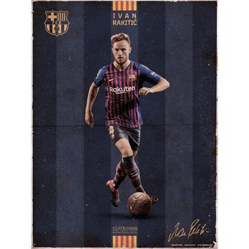 FC Barcelona - Rakitic Vintage Kunstdruk