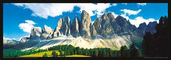 Poster Italia - Dolomity, Saas Rigais západ slunce