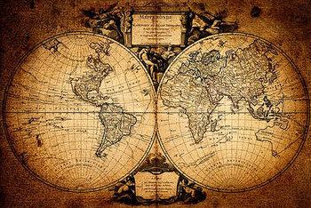 Poster Karte von Welt, Weltkarte - Mappemonde