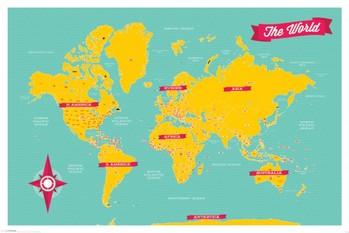 Poster Karte von Welt, Weltkarte - retro