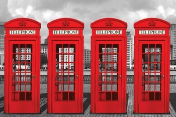 Londen - phone boxes Poster