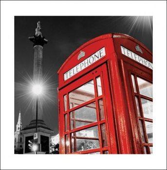 Londen rode telefooncel - Trafalgar Square Kunstdruk