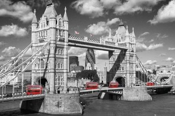 Londen - tower bridge buses Poster
