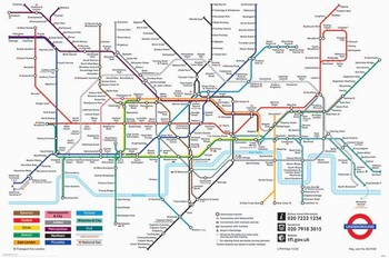 Poster London Untergrundbahnen Karte