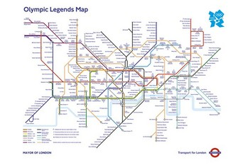 Poster London Untergrundbahnen Karte - Olympic Games