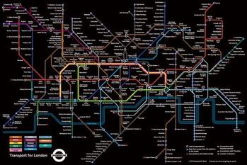 Poster London Untergrundbahnen Karte - Schwarz