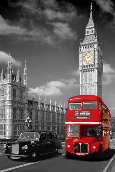 Londra - piccadilly bus poster, Immagini, Foto