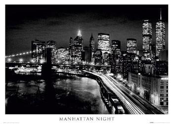 Poster Manhattan - night b&w