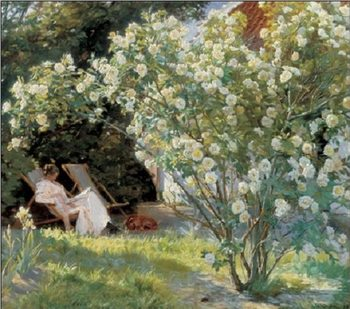 Marie in the Garden (The Roses) Kunstdruk