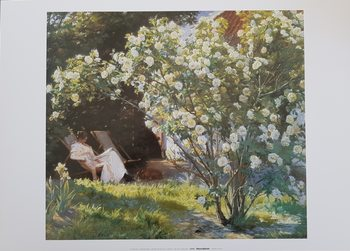 Marie in the Garden (The Roses) Kunstdruk