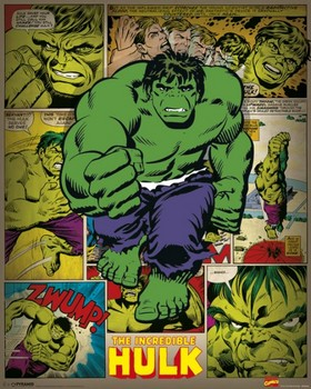 Póster MARVEL COMICS – incredible hulk retro