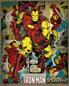 Póster MARVEL COMICS - iron man retro