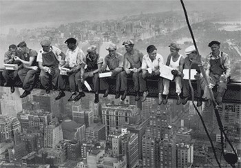 Póster 3D NEW YORK - men on girder 3D