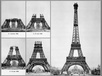 Parijs - Construction of Eiffel tower Kunstdruk