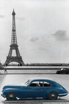 Poster Paris - la voiture bleue