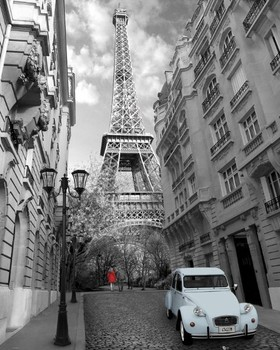 Poster Paris - red girl blue car