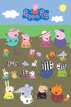 Póster  Peppa Pig - Characters Muddy Puddle