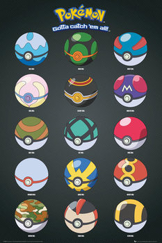Póster Pokémon - Pokeballs
