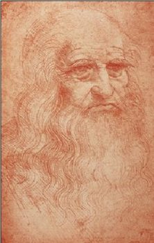 Portrait of a man in red chalk - self-portrait Kunstdruk