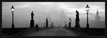 Prague – Charles bridge / lamp b&w Poster
